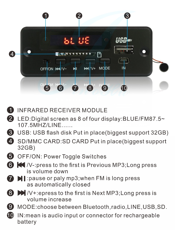 China Fm Usb Bluetooth Sd Mp3 Player Audio Module