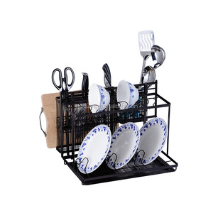 2018 New Black Coated Multifunction 2 Tier Kitchen Dish Rack