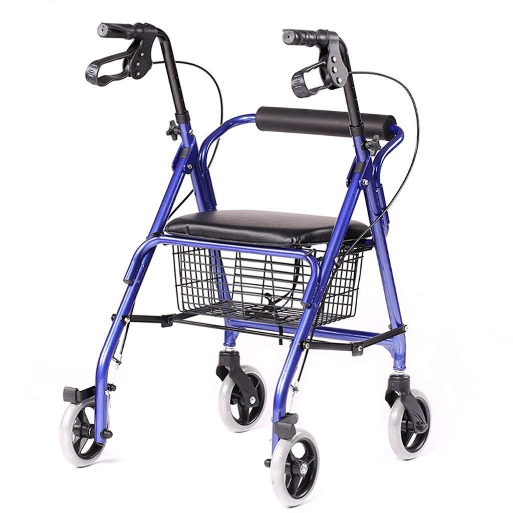 Lxn Folding Rollator Walker - 4 Wheel Medical Rolling Walker with Storage Basket - Mobility Aid for Adult, Senior, Elderly & Handicap - Aluminum Transport Chair (Blue)