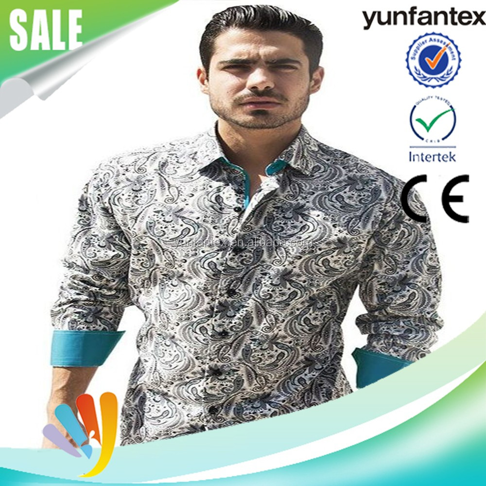 2016 fashion cotton colorful paisely formal shirt