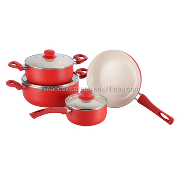 7pcs exquisite kitchen accessories milk white ceramic coating cookware set
