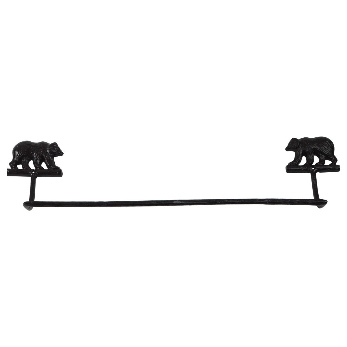 Black Cast Iron Grizzly Bear Bath Towel Bar Holder Rack Rustic Cabin/Lodge Decor