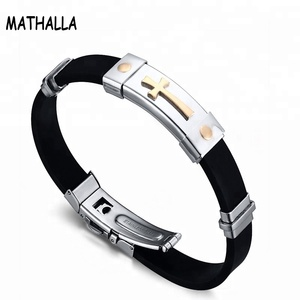 High quality Customized Stainless Steel Silicone Bangle Bracelet Jewelry Wth Gold Plated Cross For Men