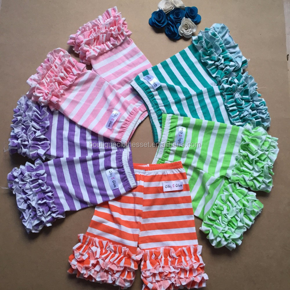Sew Sassy Shorts Boutique Kids Ruffle Cotton Striped Shorts Baby ...