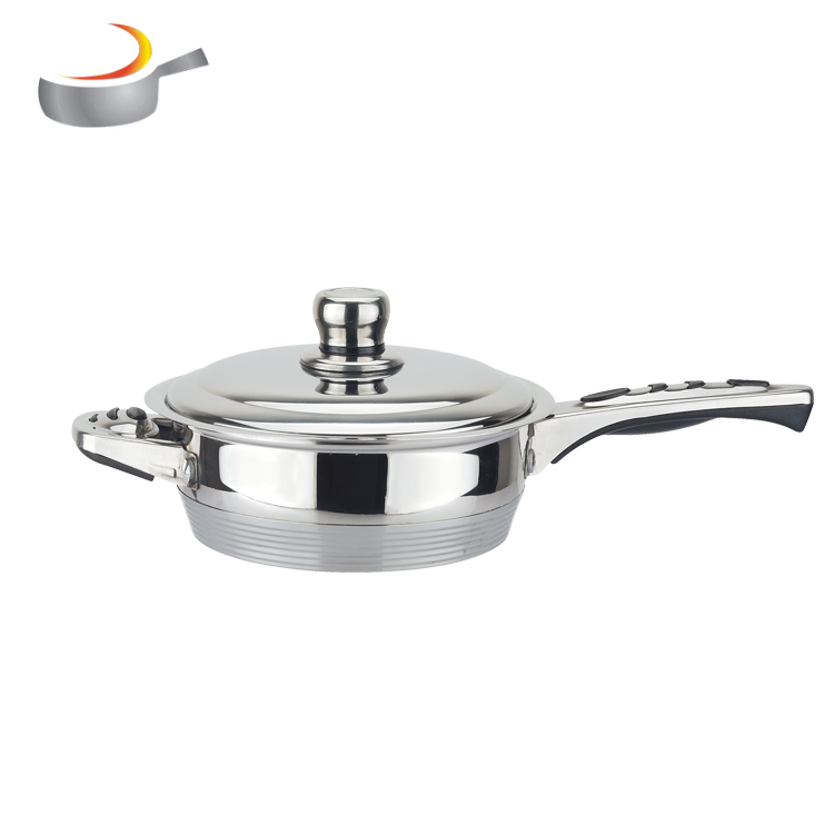 unique 16pcs cooking pot cook ware stainless steel wide edge cookware set with thermo knob