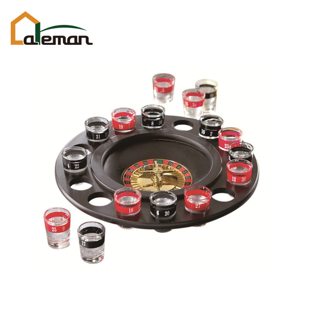 16 Tiro De Vidro Deluxe & Roleta Poker Chips Drinking Game Set