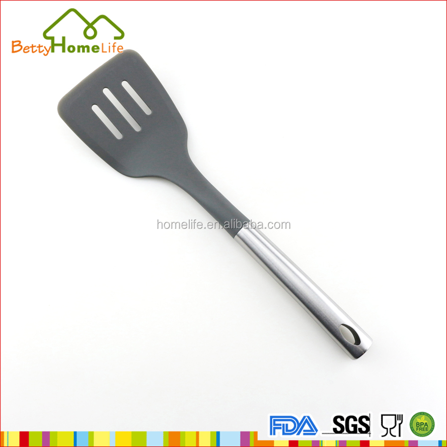 Top quality nylon cooking slotted spatula with S/S handle