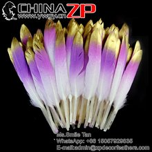 ZPDECOR Hot Sale Painting Glitter Golden Tip and Purple Hand Select Premium Quality Three colour Duck Feathers for Carnival