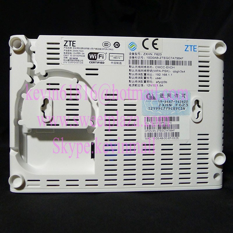 Original ZTE ZXHN F623 GPON ONU, 1GE + 3FE LAN ports + 1voice port + WIFI,English interface