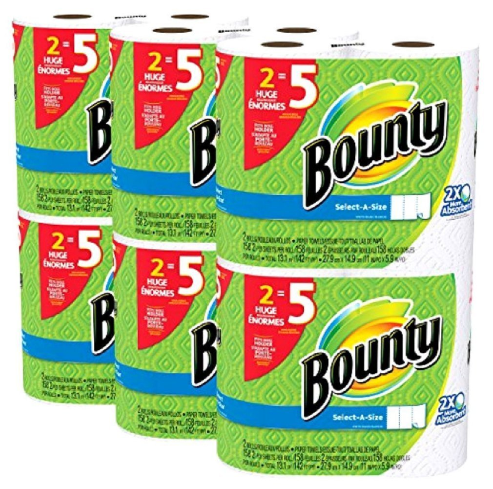 Bounty Select-a-Size 2x More Absorbent Paper Towels Toilet Paper Bath Tissue White 12 Huge Rolls Use less ,Quicker Napkins Bounty