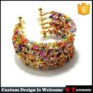 High quality five lines colorful noble big size wide bangle with glass beads