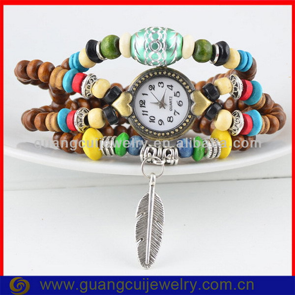 Fashion vintage leaf bead men's leather wrap watch