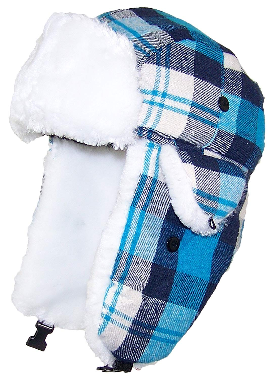 158cf566a37 Get Quotations · Best Winter Hats Big Kids Quality Madras Plaid Russian Trapper  Hat W Faux Fur