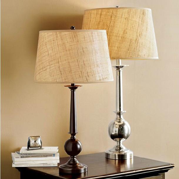 American Retro Matte Black Linen Fabric Shade Table Lamp