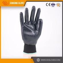 Xinhong 18 gauge en388 cheap navy nylon dipping nitrile industrial safe work bluetooth gloves