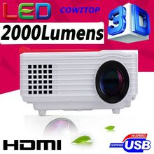 Full HD 1920 x 1080 projector LED LCD 3D Home theater, 2000lumens LED Projector 50000hours LED For PC smart phone laptop tablet