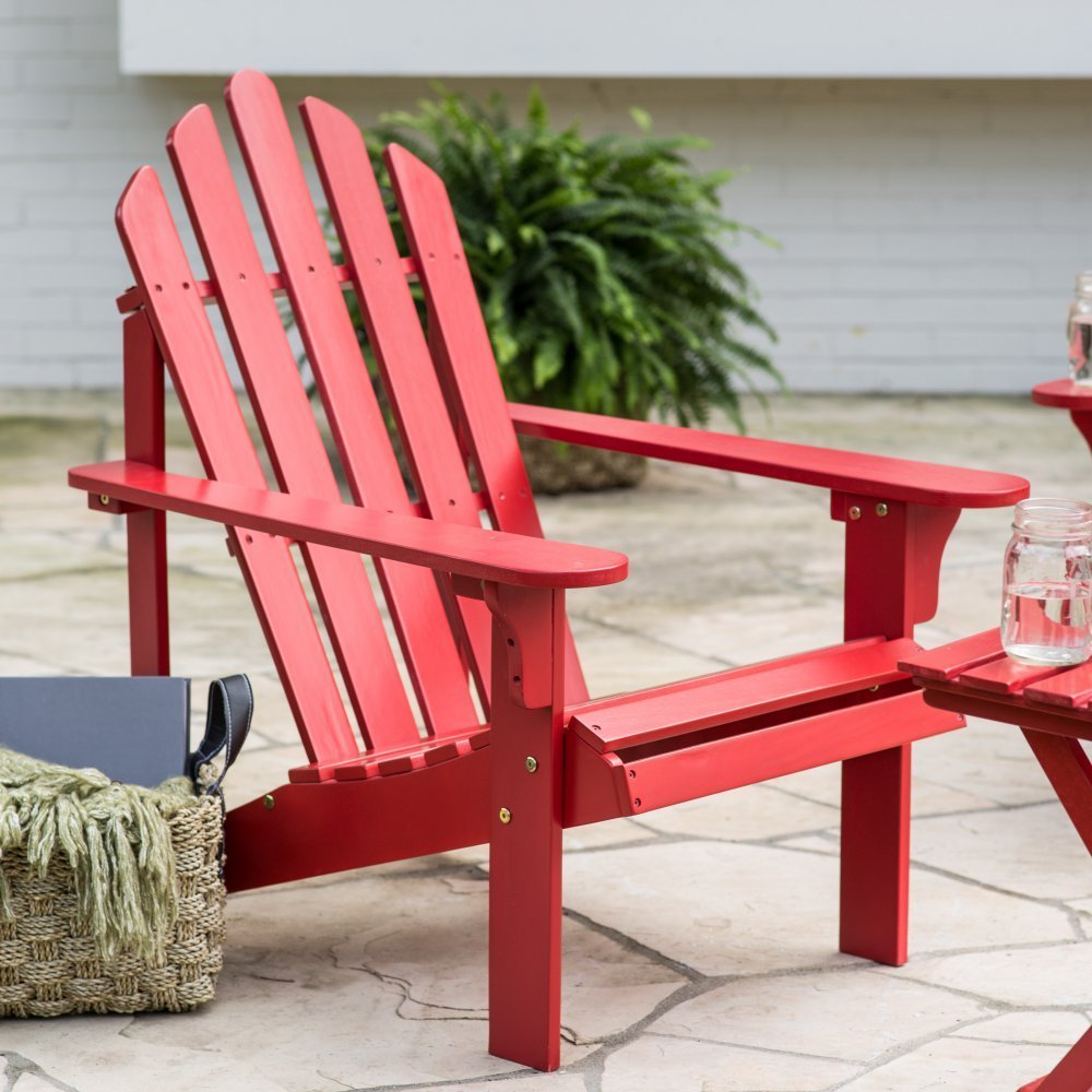 Premium Quality Adirondack (1 Chair + 1 Side Table) Wooden Furniture for All Weather Conversations on Deck Patio Outdoor Garden Poolside Beach, 3 Colors (2, Red)