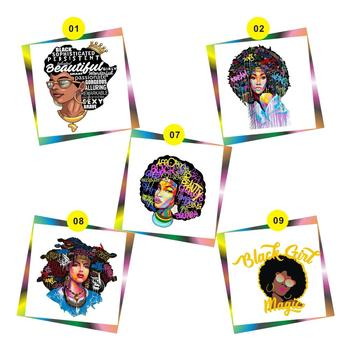 Free Shipping Printing Vinyl Afro Transfer Designs Available To Choice(5design/lot,5PCS/Design)