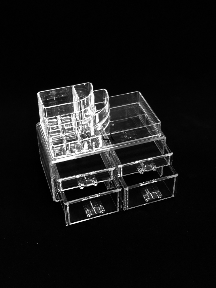 MCB Home Essentials-Acrylic Makeup & Cosmetic Jewelry Organizer -Storage Display Box with 2 set of Drawers