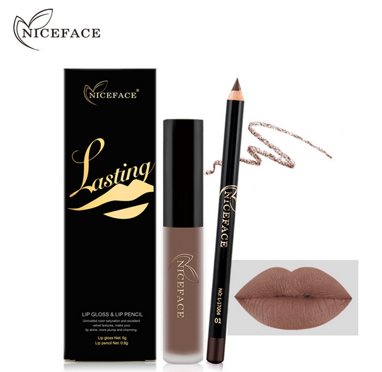NICEFACE matte lip gloss+lip pencil combination