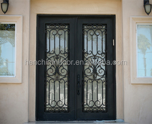 Hot Sale Wrought Double Arch Top Wrought Iron Entry Doors