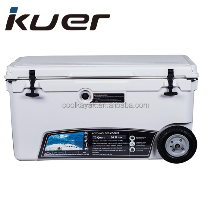 70QT extreme rolling Ice Chest the coolest plastic wheeled cooler box with wheels