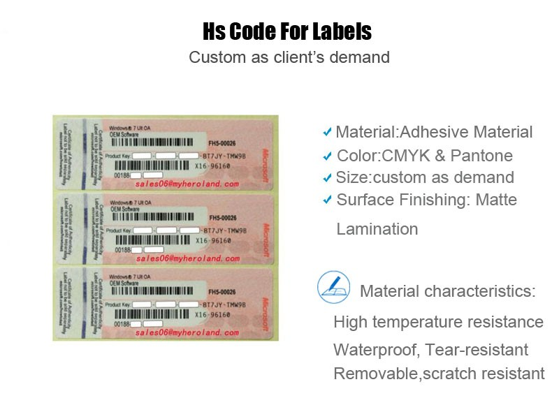 Waterproof Barcode Sticker Paper Label Plain Hs Code For Labels Printing