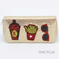 Elagant Ladies Beautiful Evening Purse Soda Fries Glasses Sequin Patched Glitter Fabric Wallet