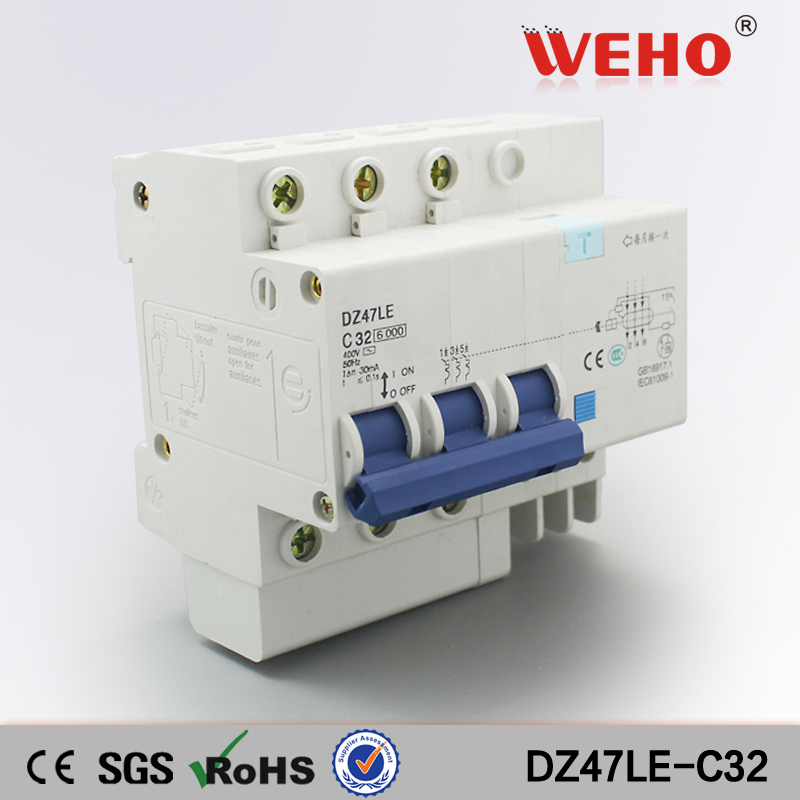 New Products DZ47LE Electronic Type 32A 3P+N Rcbo Australia Residual Current Circuit Breaker