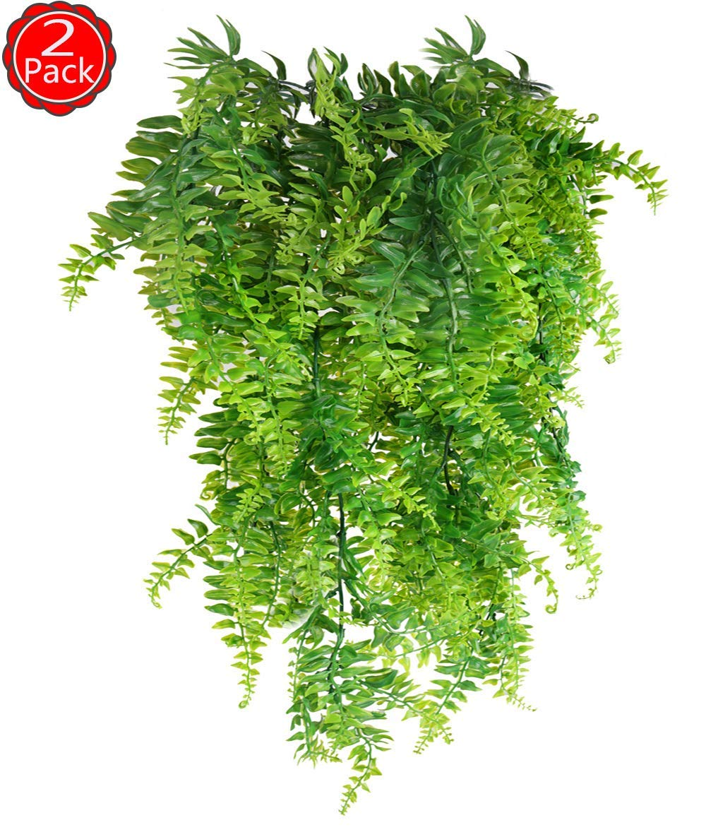 Artificial Plants Vines Fern Fake Boston Ferns Hanging Flowers Basket Vine Plants Persian Rattan Faux Ferns Indoor Outdoor Home Wedding House Vases Pot Garland Wall Decor Plastic Fern Plants-2PCS