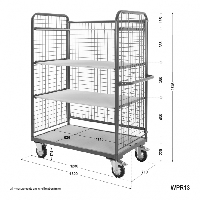 Mesh Sided Shelf Trolley