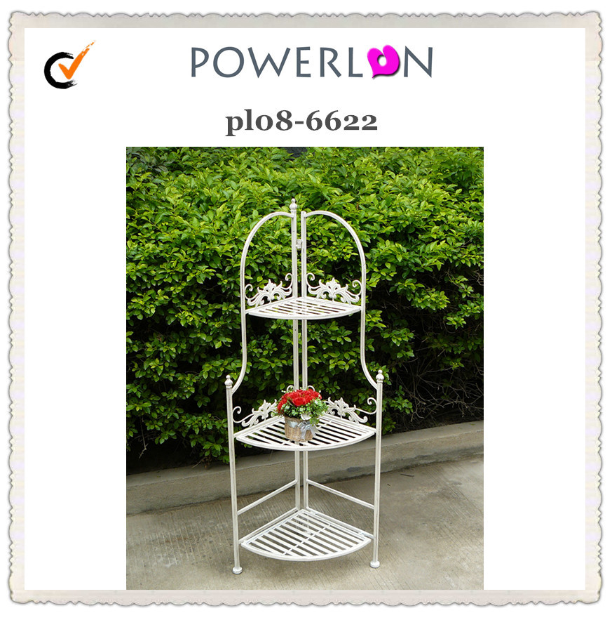 Beautiful White 3 Tier Metal Garden Shelf Outdoor Corner Folding Plant Stand