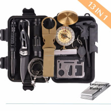 Survival Gear Kits 13 in 1- Outdoor Emergency SOS Survive Tool for Wilderness /Trip / Cars / Hiking / Camping Gear