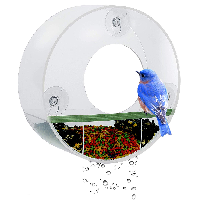 Get Quotations · Birdious Tube Window Bird Feederu2013 Watch Backyard Wild Birds  From Homeu2013 Removable Tray,