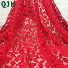 Кружевная ткань с вышивкой в виде кленовых листьев, французский Тюль красного или белого цвета, Высококачественная Женская одежда, африкан...(Китай)