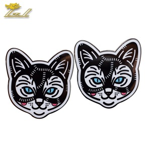 Smooth Black Finish Custom Hard Enamel Cat Shape Lapel Pin