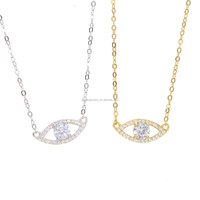 micro pave clear cz diamond evil eye charm delicate chain necklace 925 sterling silver jewelry wholesale