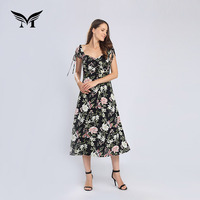 Factory direct custom made short sleeve colorful rayon floral print flower casual midi dress for holiday summer