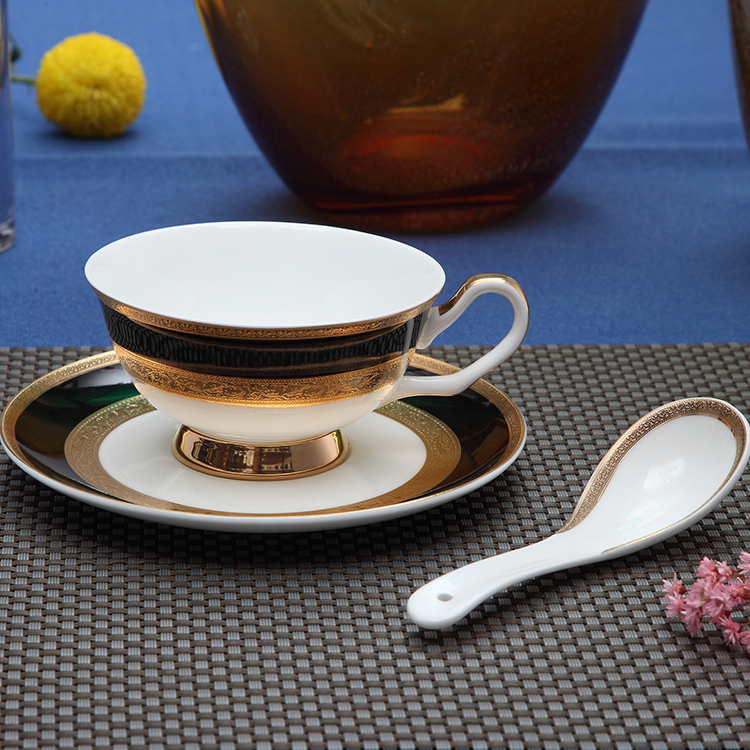 P&T Royal Colorful bone china tea cup and saucer Emboss coffee cup