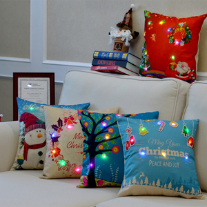 Factory direct sales modern creativity fancy cushion covers battery powered Led lantern lighting Christmas cushion cover
