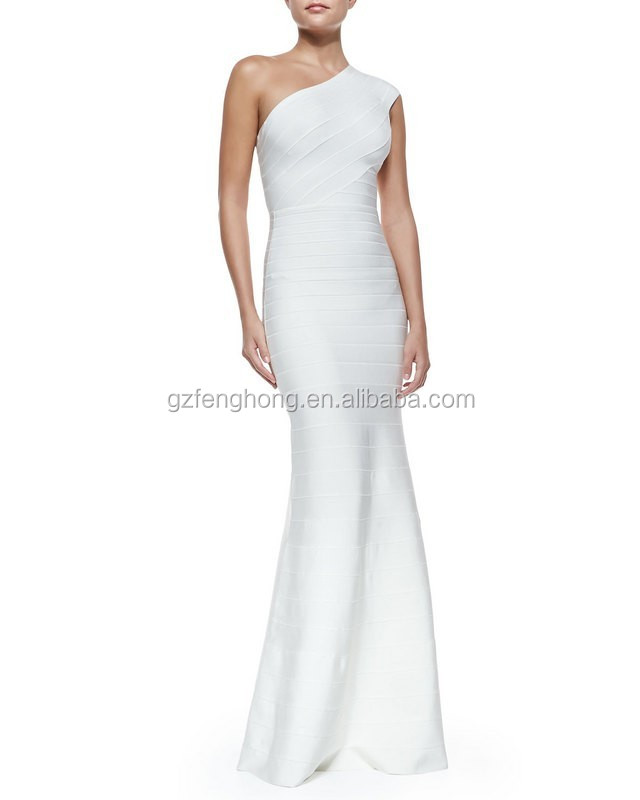 2016 one shoulder white floor elegant long lace bandage evening maxi dress