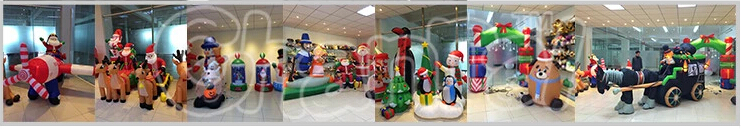 240CM L /8FT Inflatable Merry Christmas Sign With Tree Santa Claus Candy Decoration Led Blow Up