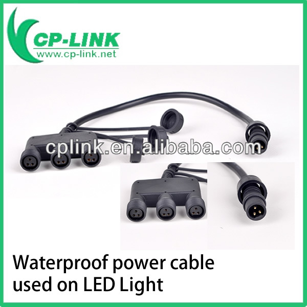 Power splitter cable 3 pin waterproof with cap used on Led light
