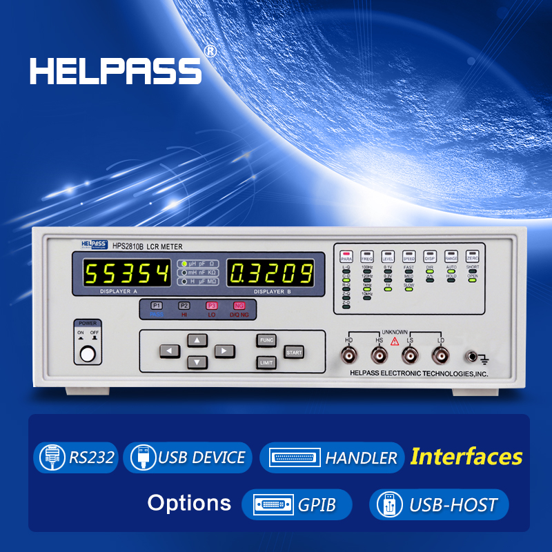 HPS2810B lcr digital bridge testing C, R, L, Z, D and Q parameters with 0.1% accuracy
