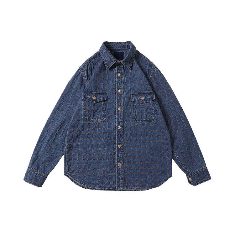 बुटीक कपड़े फैक्टरी मेड जींस शर्ट प्रेमी पुरुषों की सब से अधिक कढ़ाई जींस जैकेट