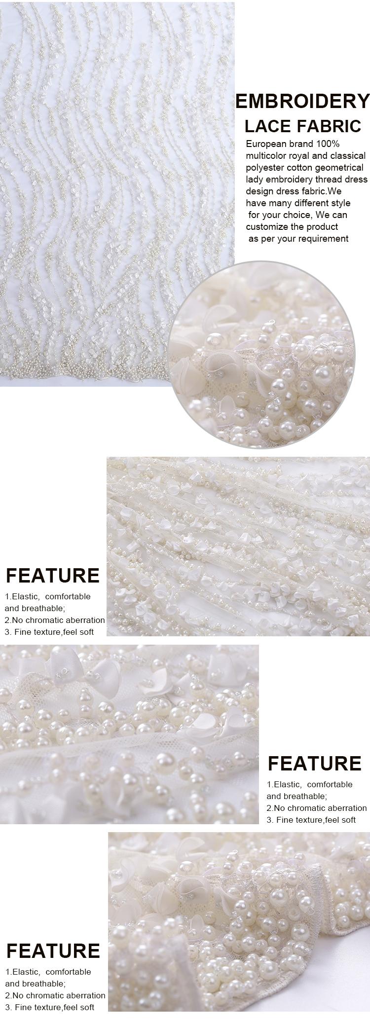 Luxuriöse Perlenabendhochzeitskleidprinzessin-Brautstickereihandarbeit schwere Perle schweres perlenbesetztes Spitzegewebe