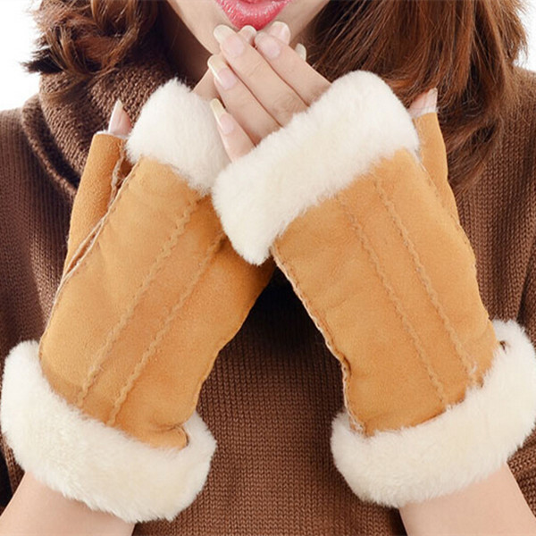 fashion sexy fingerless double face leather glove for ladies