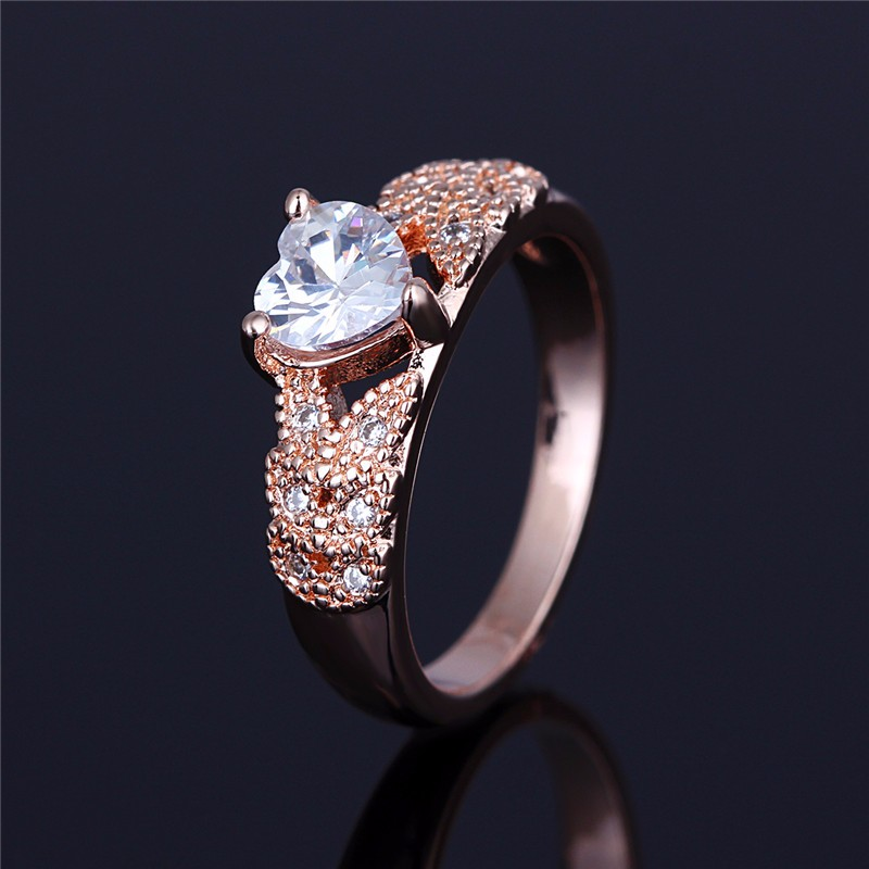 Slim Hoop Heart Shape Crystal Micro Pave Zircon Ladies Ring