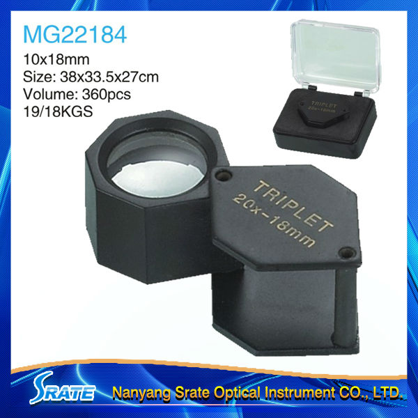Black Matt Finished Hexagonal Diamond Triplet Eye Loupe MG22184