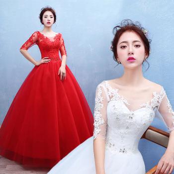 Oem Bridal Long Sleeve Wedding Gowns Off Shoulder White Half Sleeve